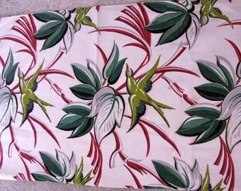 Vintage Mid Century Tropical Barkcloth Bark Cloth Fabric 43 by 43 Inches