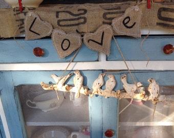 Small heart burlap Love banner, Valentine bsnner, Love signs