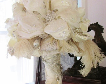 CHARLIE- Ivory/Champagne Brooch Bouquet - CHARLIE
