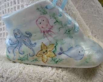 Baby Shoe with hand painted baby sea creatures/baby bootie
