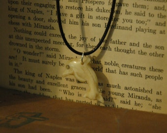 Bone Carved Dolphin on Faux Brown Leather Necklace 339