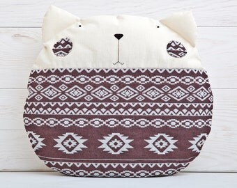 Tribal pillow Cat Cushion Brown Decorative Pillow Children's Room Decor Tribal Home Decor Housewarming Gifts Grandma Gift