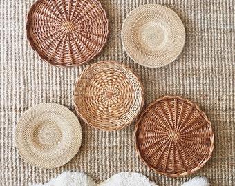 Vintage Large Shallow Baskets Decor