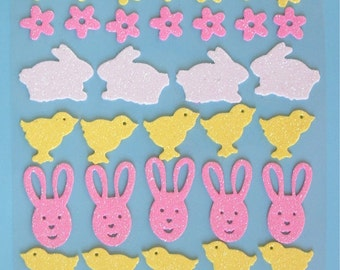 33 Glitter Foam SPRING-EASTER Shaped Stickers,  varied designs
