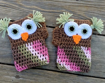 Ready to ship Crochet Owl Fingerless Gloves- size adult medium