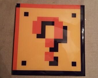 SALE! - Wooden 8 Bit Game Art NES Nintendo Question Block Super Mario Brothers - The 3A Workshop