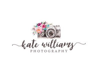 Premade Photography Logo Design and Watermark, Watercolor and Flowers Camera logo, Vintage Retro Rustic Flowers Logo  228