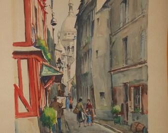 Vintage Paris street scene church water color signed