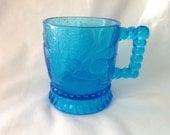 1880s Bryce Bros. Beautiful Antique Blue Glass Bird and Owl Mug