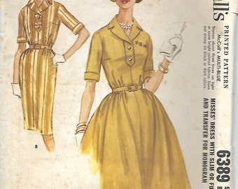 VTG McCall's 6389 Ladies Dress W/ Slim or Full Skirt Pattern, Size 14, Bust 34