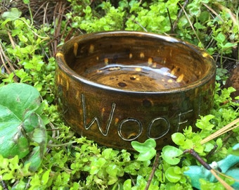 ON SALE Woof dog bowl, small dog bowl, pottery dog bowl, dog bowl, pet bowl, ceramic dog bowl, pottery dog bowl, brown dog food bowl