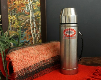 Vintage Uno-Vac Thermos Large 1 Quart Stainless Steel Unbreakable Hot and Cold Canteen With Cup