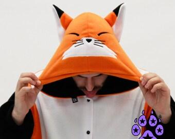 Pawstar Fox Character Kigu Fox Kigurumi Orange Kitsune Happy Best Quality Black White Adult Onsie Pajamas Halloween Costume 6323