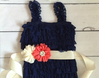 Baby girl romper-navy blue coral ivory baby romper-baby lace romper-1st birthday outfit-girls navy blue romper-nautical baby girl birthday