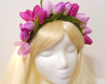 Tulip Flower Crown Purple Lavender Pink Tulips Headband Spring Queen Weddings Flower Girl Headdress Prom Woodland Kawaii Girl Tiara Easter
