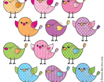 Cute Bird Clipart - Birds Clip Art to make Birthday Party Invitations, Sign, Label, Tag, Craft, Card Making - Vector, Svg, Jpg, Png 10059