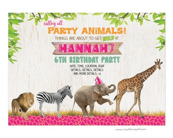 SAFARI Birthday Invitations, Girl Jungle Party Invite, Zoo Animal Stationery, Two Sided 4x6 or 5x7 Card, Personalized, Safari Party Decor