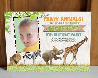 SAFARI Birthday Invitations, Boy Jungle Party Invite, Zoo Animal Stationery, Two Sided 4x6 / 5x7 Card, Personalized Name Age Photo Printable