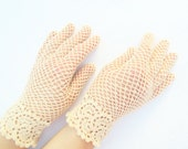 Bridal irish lace gloves in champagne color,crochet jewelry,victorian style wedding gloves,elegant evening gloves,romantic summer lace glove