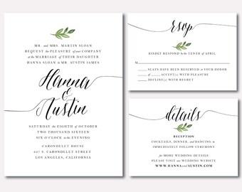Printable Wedding Invitation Suite - Botanical Minimalist Leaf - Watercolored Leaf