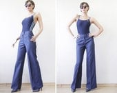 70s vintage blue wool high waist wide leg straight flares trousers pants S