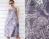 Vintage MARIMEKKO purple white abstract naive floral circle print cotton sleeveless belted tunic midi dress L