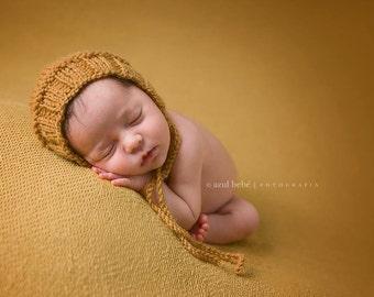 Newborn Photo Prop Bonnet hat- Prop Newborn Hat in MANY SIZES- Ribbed Bonnet Hat- Knit Baby Hat-Many color choices