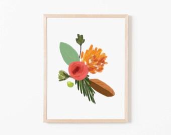 Petals and Pine Single II Nursery Art. Nursery Wall Art. Nursery Prints. Nursery Decor. Wildflower Art. Floral Wall Art. Floral Art Print.