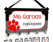 personalized teacher hall passes, blackand white chevron with red paw - students hall badge - CHP134