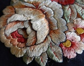 Large 1930s embroidered silk layered rose applique projects silk stalk leaves 2D flowerhead 6 ins