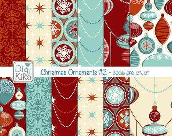 Christmas Ornaments Digital Papers - Red and Blue Christmas Seamless Pattern - website background, textile print - Instant Dow