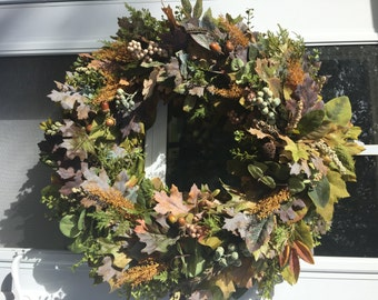 Moss Green & Rustic Fall Colors Artificial Wreath