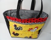Handmade funky chickens quilted tote bag, chicken carryall for books, crafts or lunch