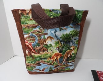 boys dinosaur tote bag, padded dinosaur tote for lunch, books tablet