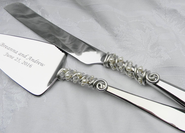 engraved elegant wedding cake knife server serving set beaded. Black Bedroom Furniture Sets. Home Design Ideas