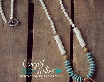 Powderhorn Bold Western Necklace-Elegant, Rustic, Turquoise, Antler Shed, Boho