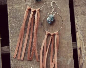 Fringe and Turquoise Magnesite Hoop Western Earrings