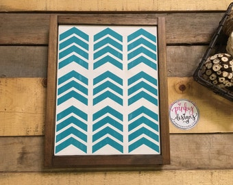 Hand Painted Distressed Pieced Chevron Wood Sign - Choose your color.