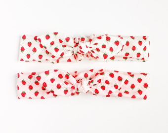 strawberry hair bandana pink or white-ladies headband-kawaii hair accessory-bunny bow headband-ladies hair bandanas-Love Factory NY