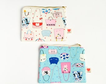 kawaii cat pouch-cat purse cosmetic pouch-javanese kawaii pouch-pencil case-coin purse-animal pouch-cat lover-cute kitty-love factory ny