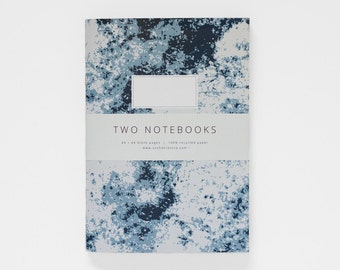 TWO NOTEBOOKS set V in A5 / blue, teal and mustard yellow / blank notebook