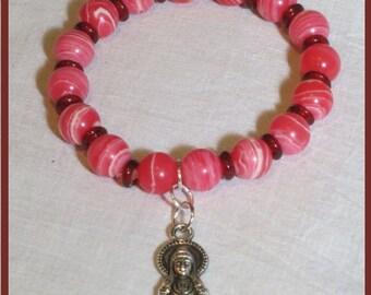 Bracelet.  Kwan Yin Goddess Charm.  Pink toned gemstones. Handmade India glass discs. Buddhist symbol. Serenity. Compassion. OOAK Handmade