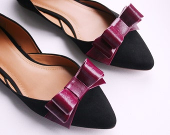 Red Violet Patent Leather Bow Shoe Clips
