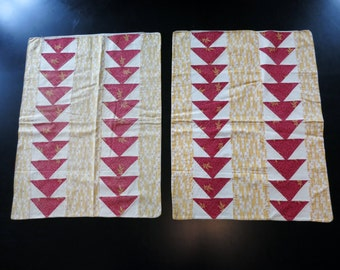 Antique Pennsylvania patchwork pillowcase pair, c. 1850, turkey red and chrome orange flying geese