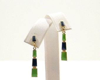 Lime Green and Navy Blue Dangle Earrings
