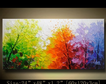 contemporary wall art, Palette Knife Painting,colorful tree painting,wall decor , Home Decor,Acrylic Textured Painting ON Canvas by Chen B15