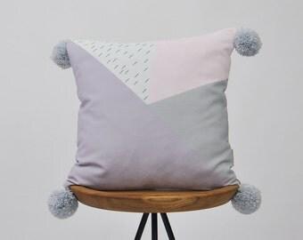 "Decorative Geometric Pillow, Modern Nursery Pillow, Pastel Pompom Kids Pillows, Teen Cushion Cover, Throw Pillow, Lilac Gray 16"" x 16"""