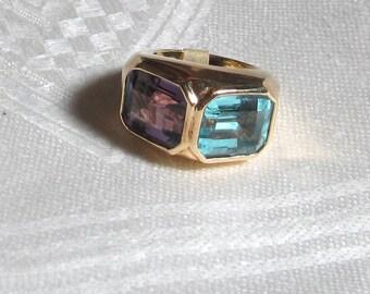 Vintage Heavy 14k Gold Amethyst and Topaz Ring Sz 6