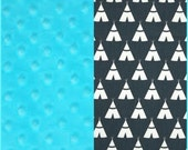 Baby Blanket Premium Duck Charcoal Teepee Minky backing 19 colors Carseat Blanket Crib Blanket Minky Blanket