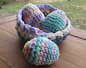 Easter Set of 3 Crocheted Eggs in a Basket Cotton Soft Handmade Party Favor Wedding Kitchen Country Rustic Bowl Spring Colorful